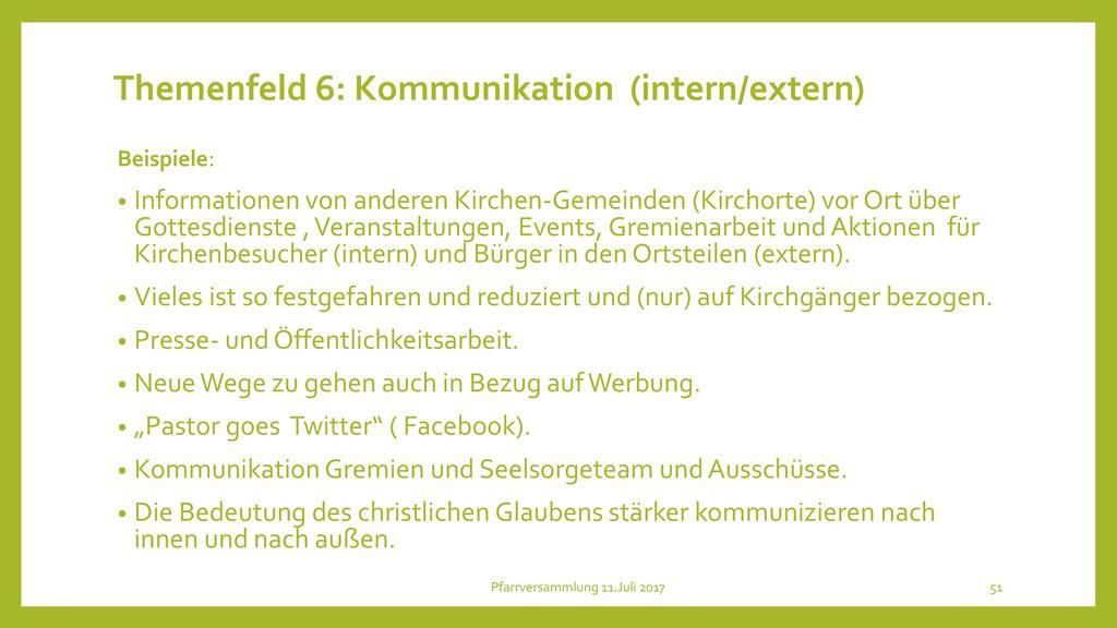 Themenfeld 6: Kommunikation (intern/extern)