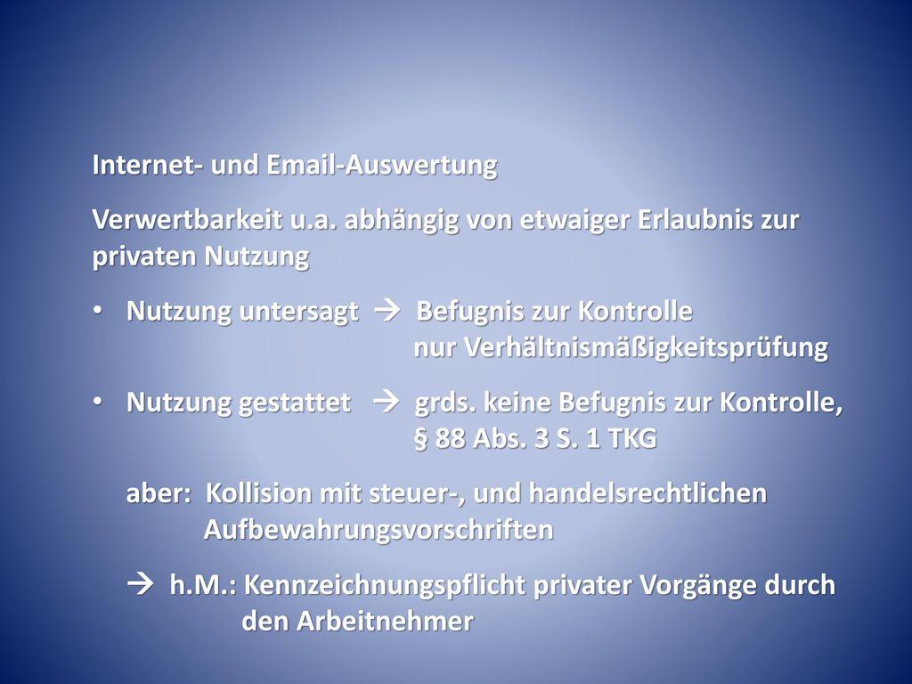 Internet- und Email-Auswertung