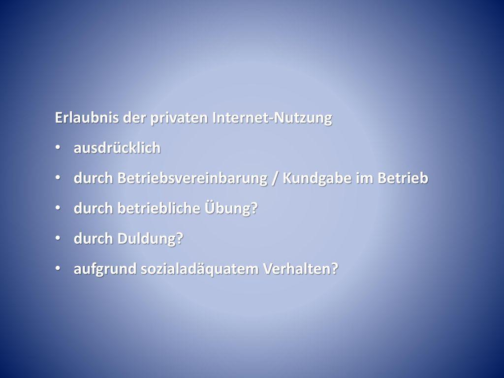 Erlaubnis der privaten Internet-Nutzung