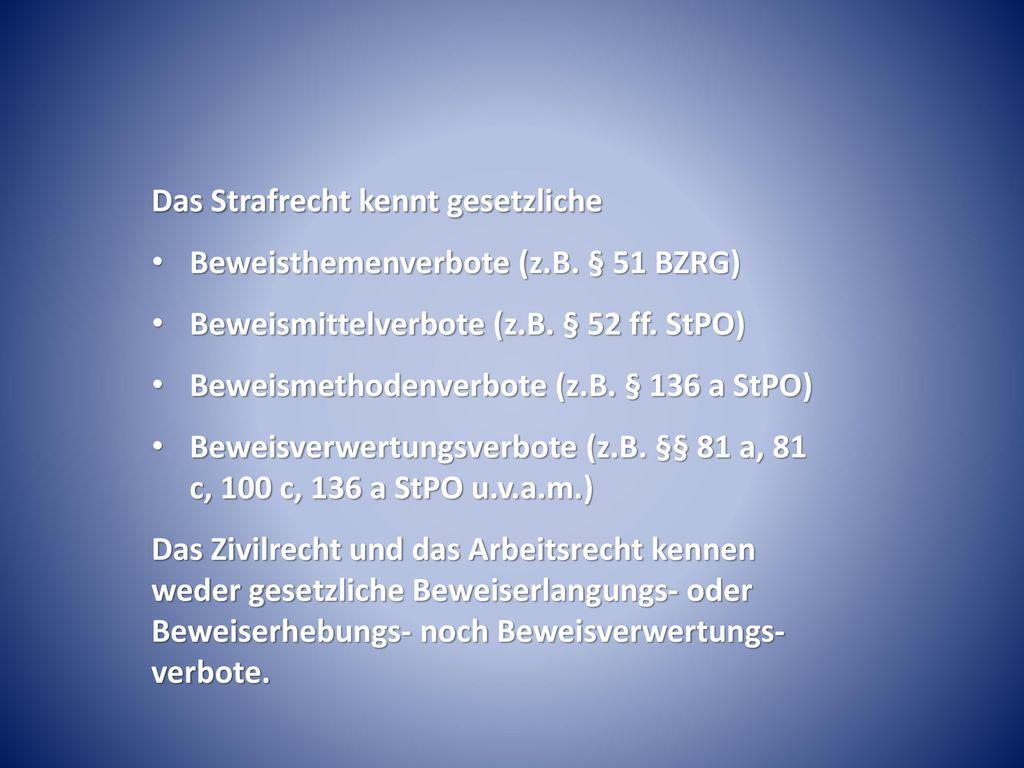 Das Strafrecht kennt gesetzliche Beweisthemenverbote (z.B. § 51 BZRG)