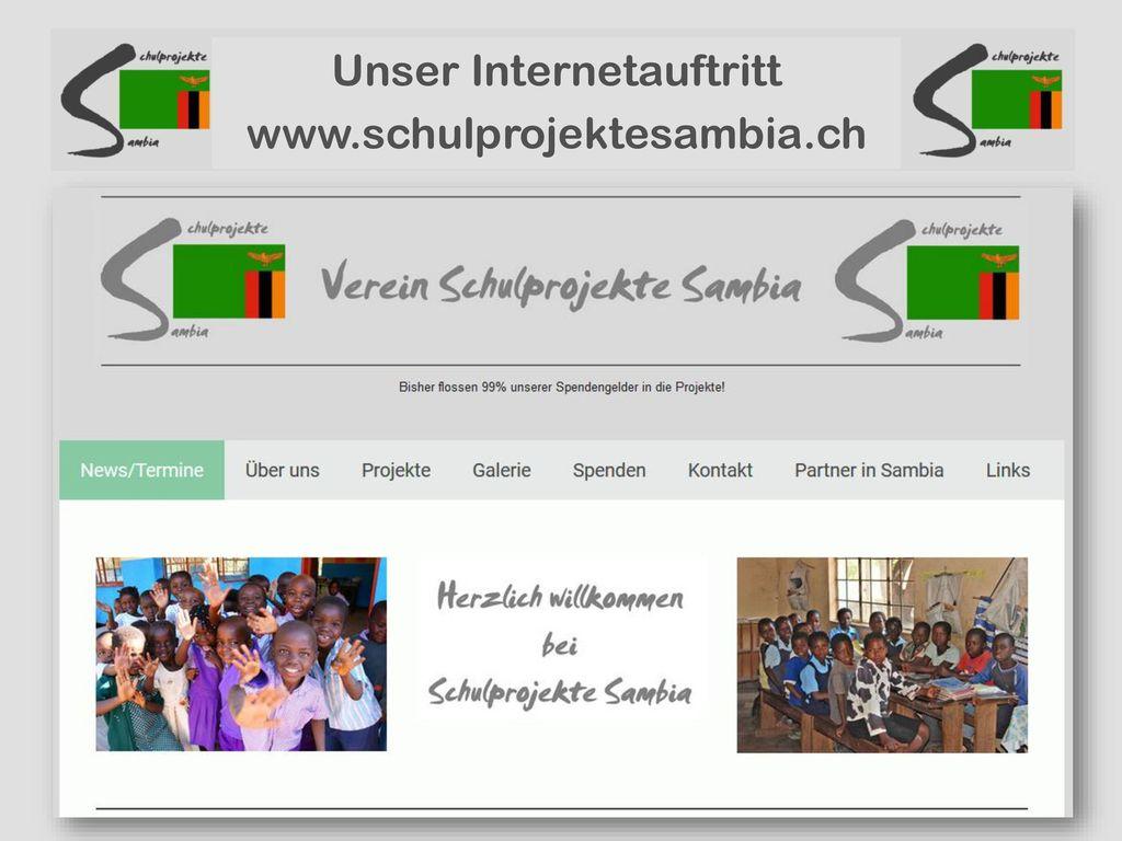 Unser Internetauftritt www.schulprojektesambia.ch