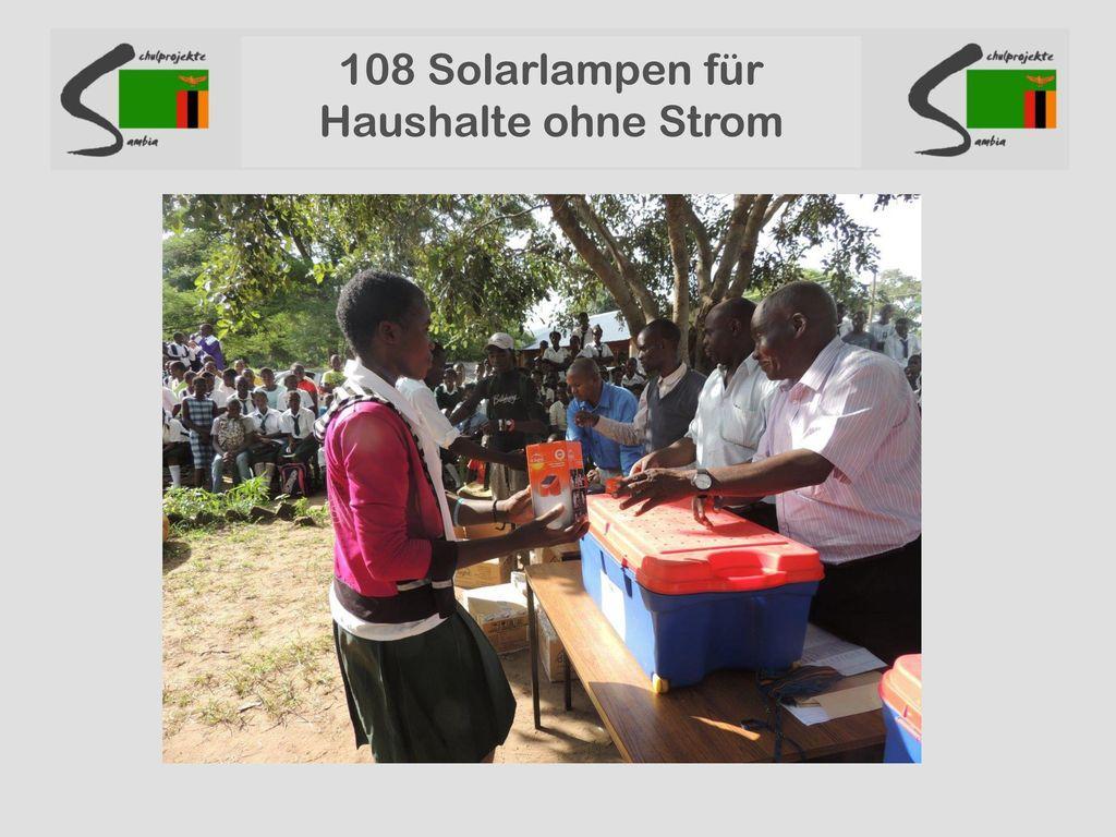 108 Solarlampen für Haushalte ohne Strom