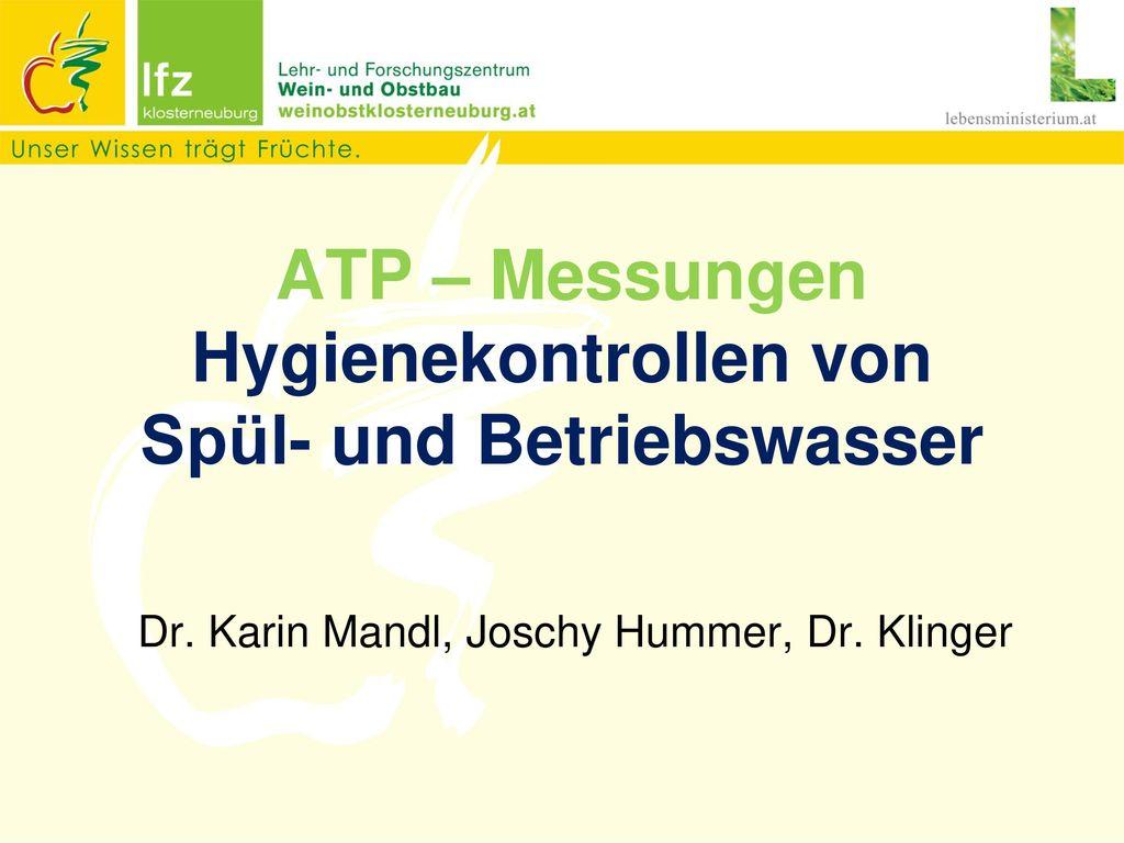 ATP – Messungen Hygienekontrollen von Spül- und Betriebswasser