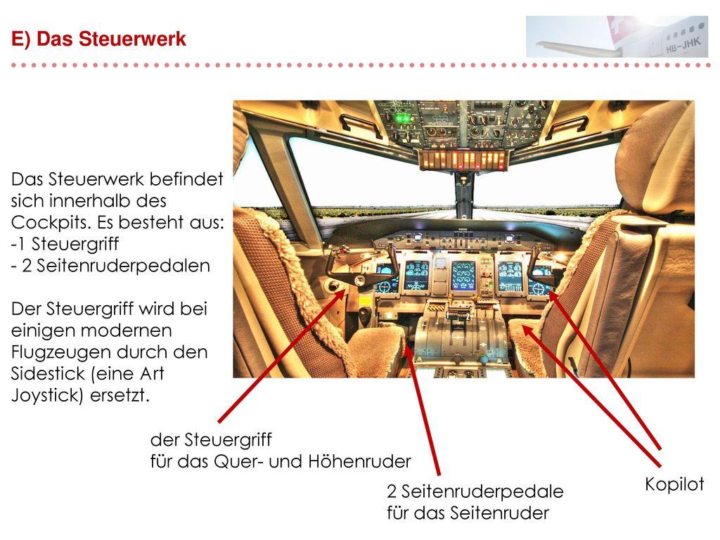 E) Das Steuerwerk Das Steuerwerk befindet sich innerhalb des Cockpits. Es besteht aus: 1 Steuergriff.