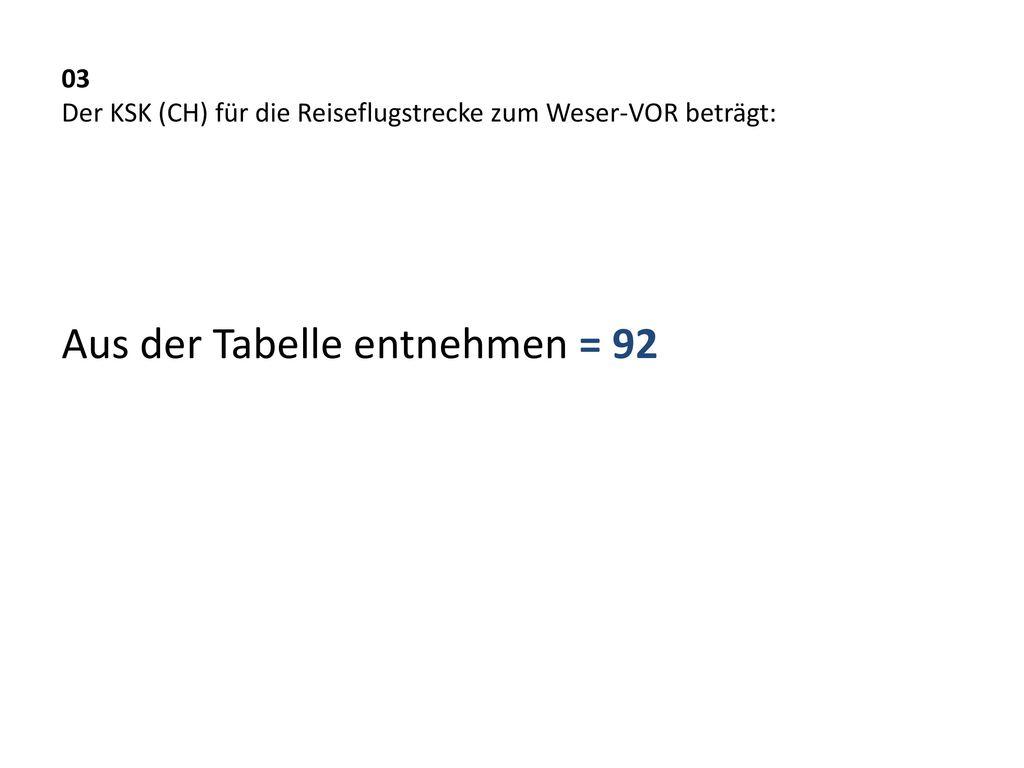 03 Der KSK (CH) für die Reiseflugstrecke zum Weser-VOR beträgt:
