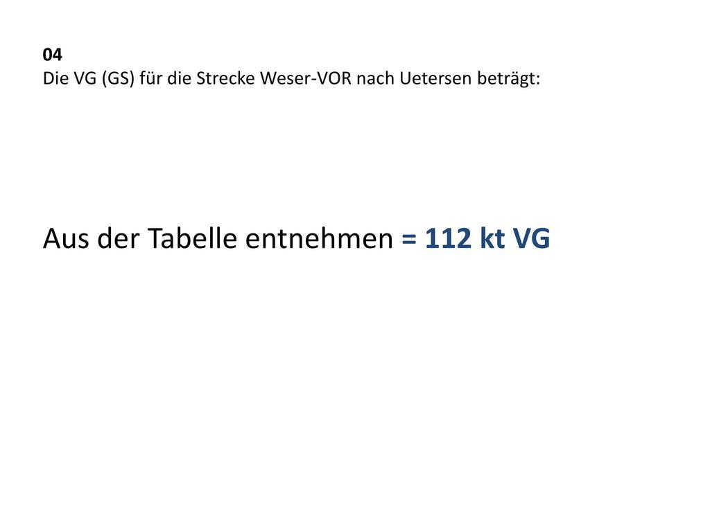 04 Die VG (GS) für die Strecke Weser-VOR nach Uetersen beträgt: