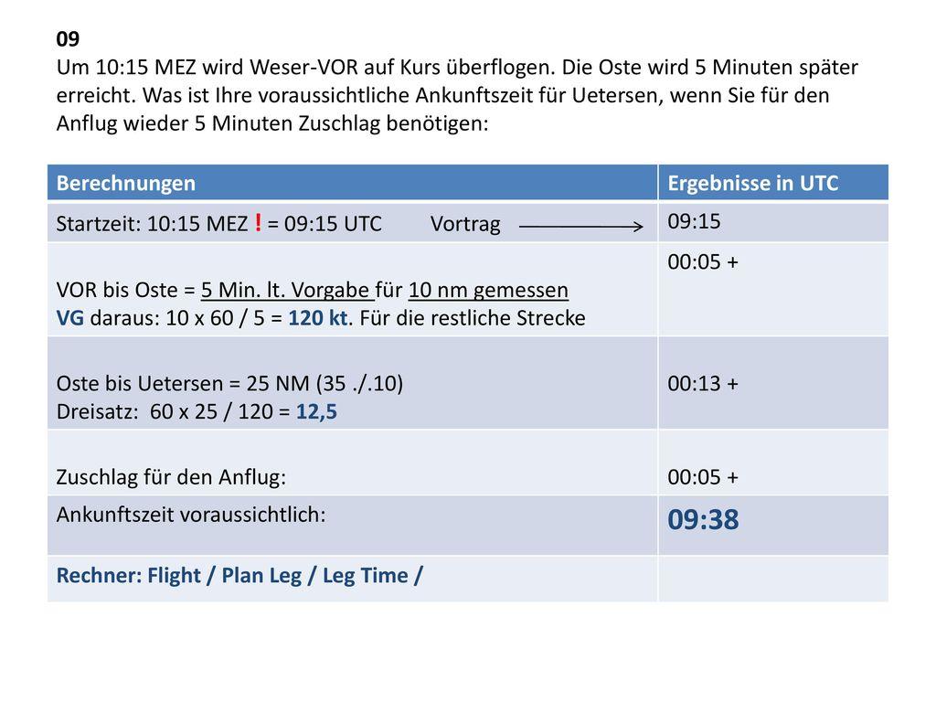 09 Um 10:15 MEZ wird Weser-VOR auf Kurs überflogen