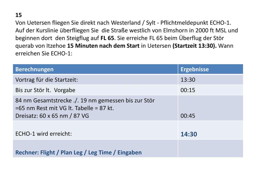 15 Von Uetersen fliegen Sie direkt nach Westerland / Sylt - Pflichtmeldepunkt ECHO-1. Auf der Kurslinie überfliegen Sie die Straße westlich von Elmshorn in 2000 ft MSL und beginnen dort den Steigflug auf FL 65. Sie erreiche FL 65 beim Überflug der Stör querab von Itzehoe 15 Minuten nach dem Start in Uetersen (Startzeit 13:30). Wann erreichen Sie ECHO-1: