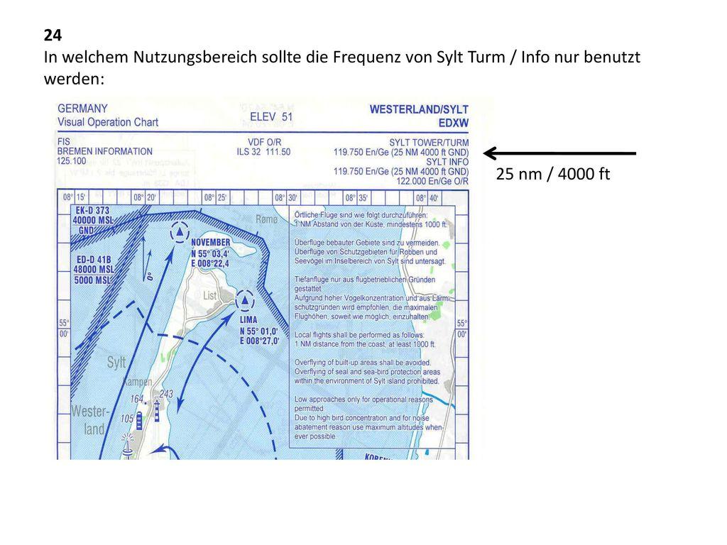 24 In welchem Nutzungsbereich sollte die Frequenz von Sylt Turm / Info nur benutzt werden: