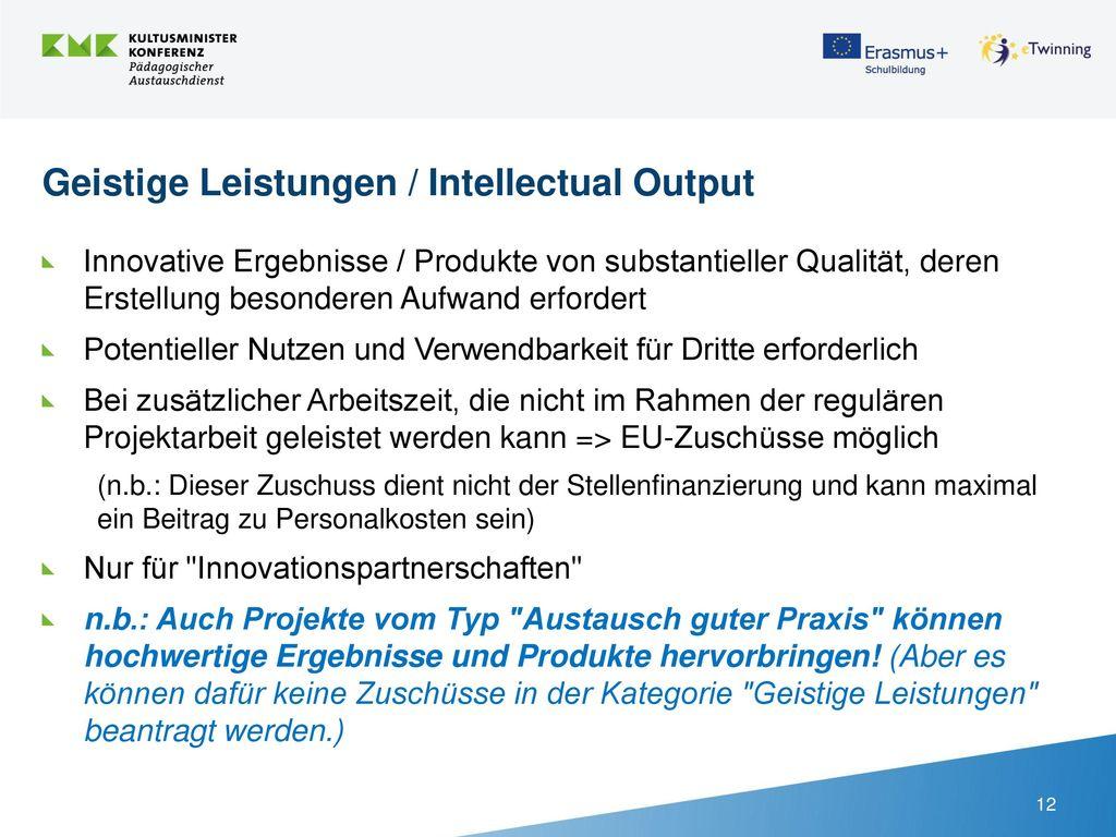 Geistige Leistungen / Intellectual Output