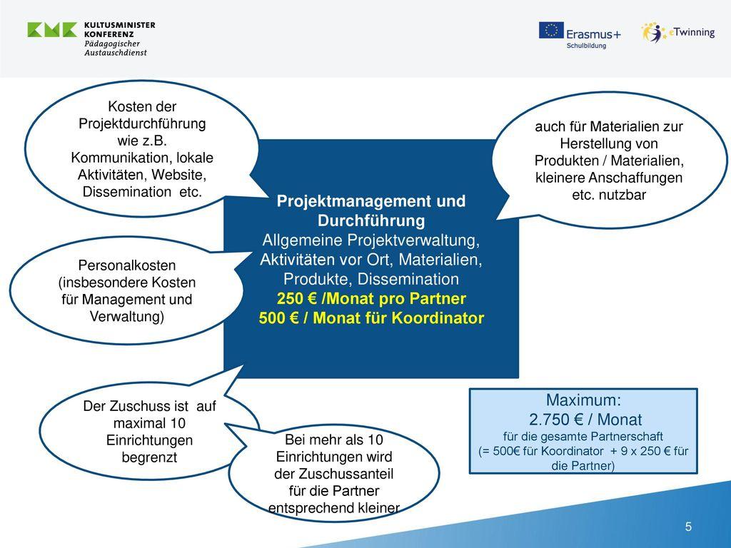 Projektmanagement und Durchführung 500 € / Monat für Koordinator