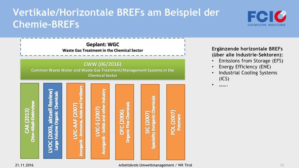 Vertikale/Horizontale BREFs am Beispiel der Chemie-BREFs