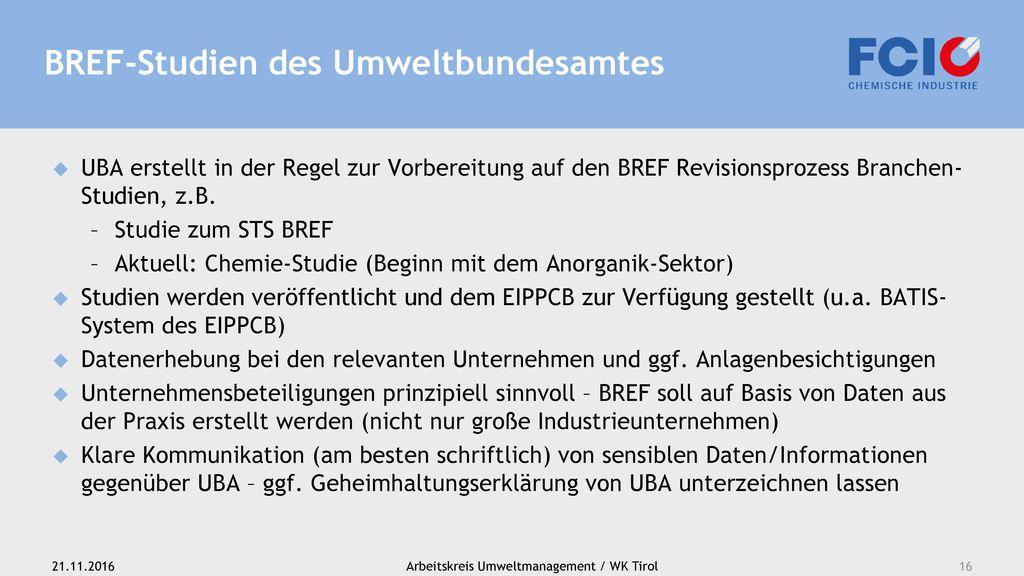 BREF-Studien des Umweltbundesamtes