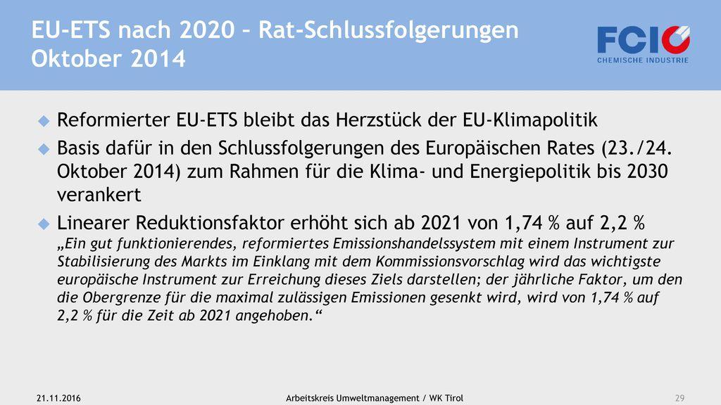 EU-ETS nach 2020 – Rat-Schlussfolgerungen Oktober 2014