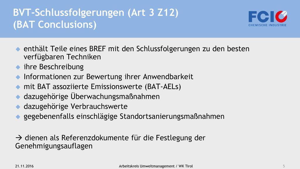 BVT-Schlussfolgerungen (Art 3 Z12) (BAT Conclusions)