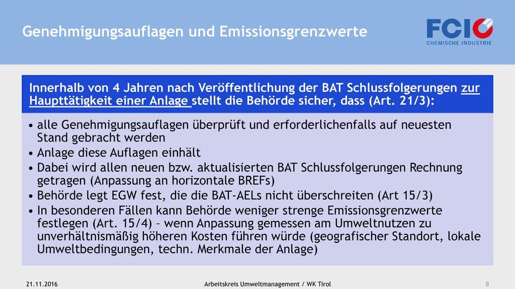 Genehmigungsauflagen und Emissionsgrenzwerte