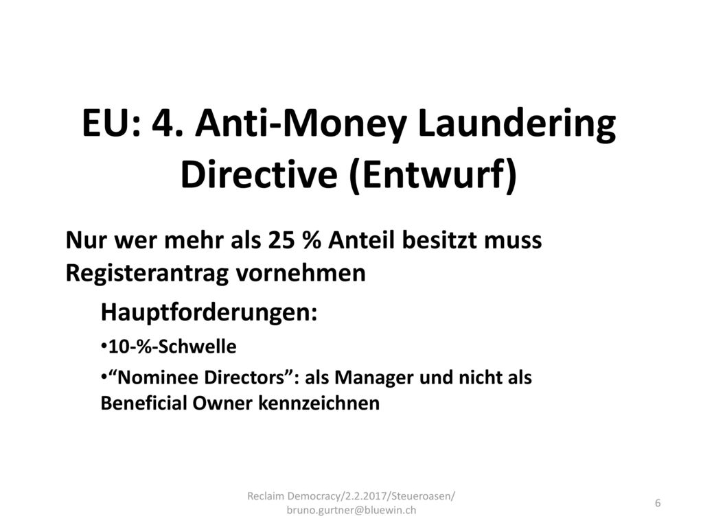 EU: 4. Anti-Money Laundering Directive (Entwurf)