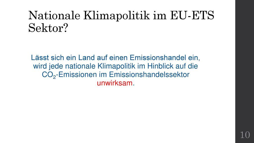 Nationale Klimapolitik im EU-ETS Sektor
