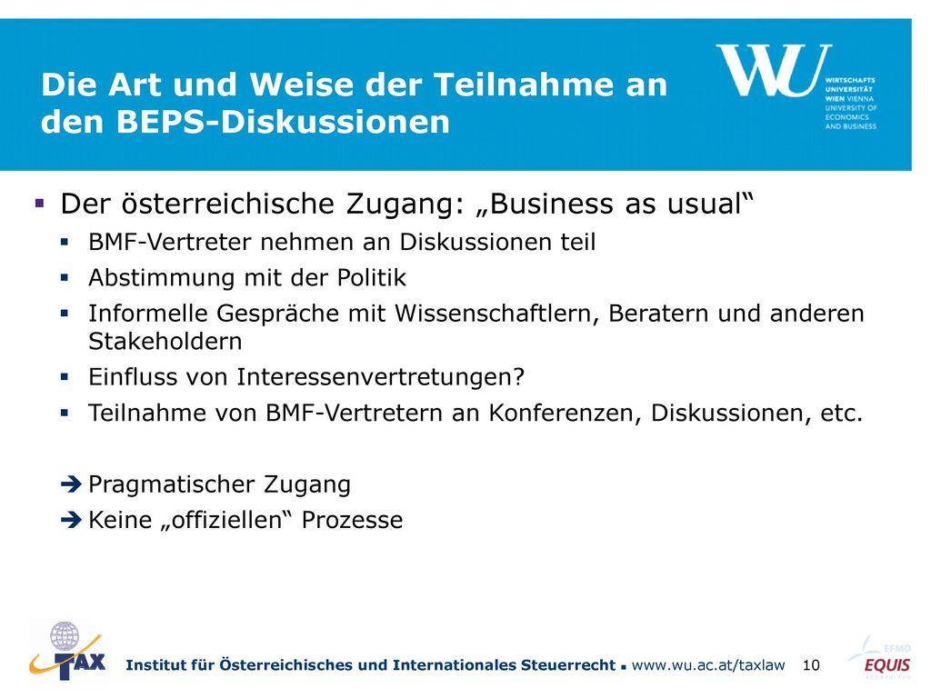 Die Art und Weise der Teilnahme an den BEPS-Diskussionen