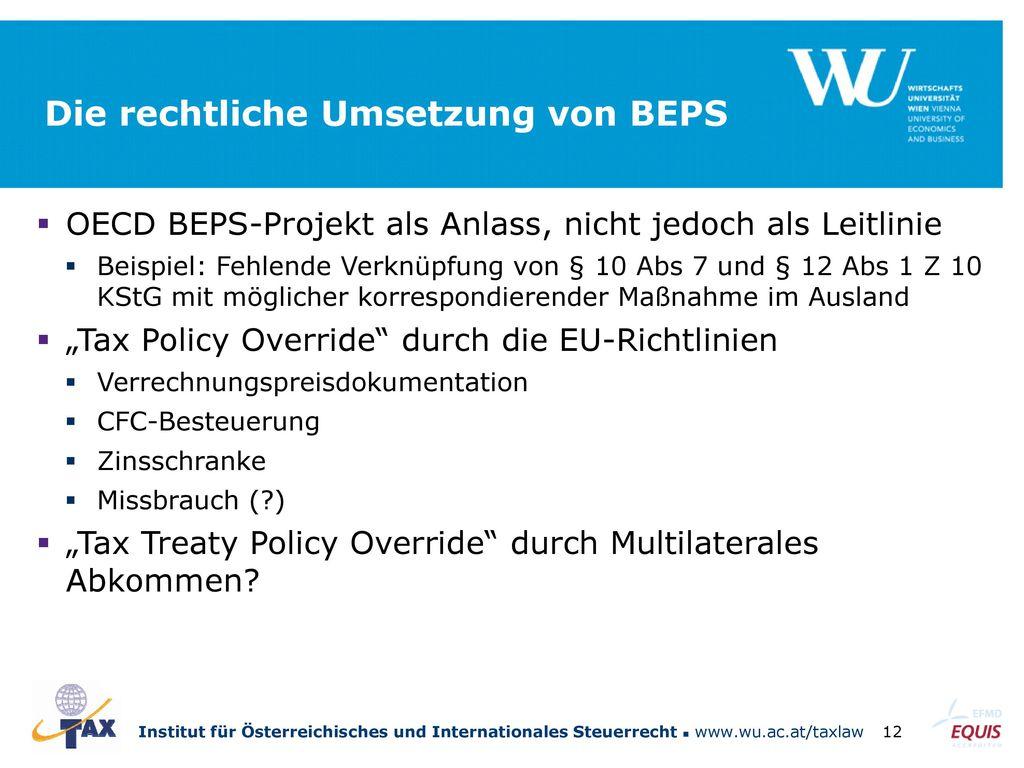Die rechtliche Umsetzung von BEPS