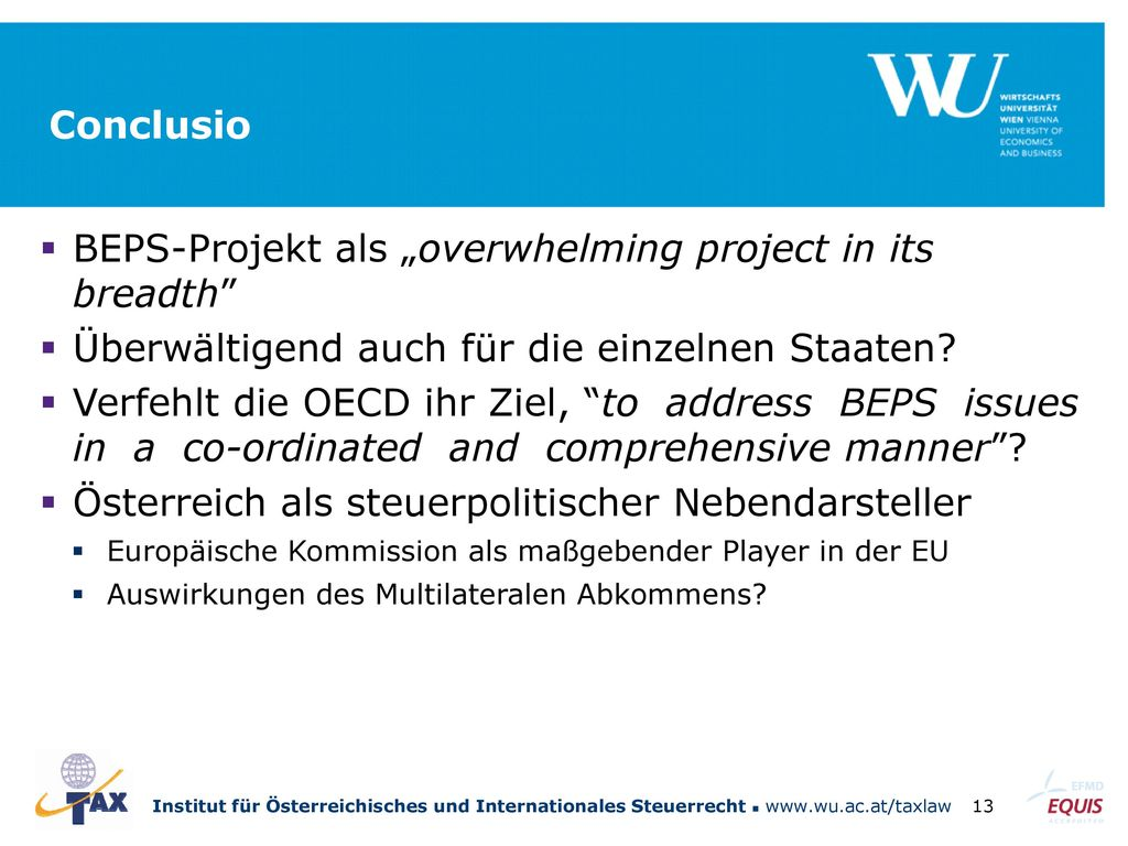 "BEPS-Projekt als ""overwhelming project in its breadth"