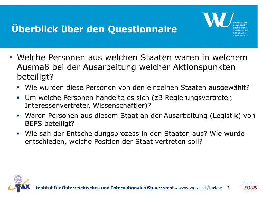 Überblick über den Questionnaire