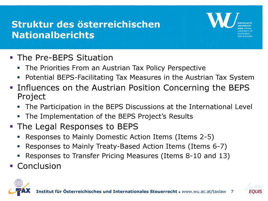 Struktur des österreichischen Nationalberichts