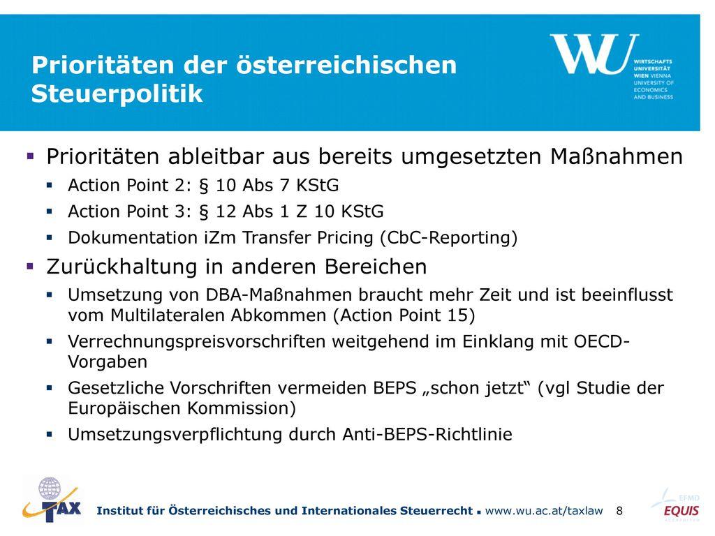 Prioritäten der österreichischen Steuerpolitik