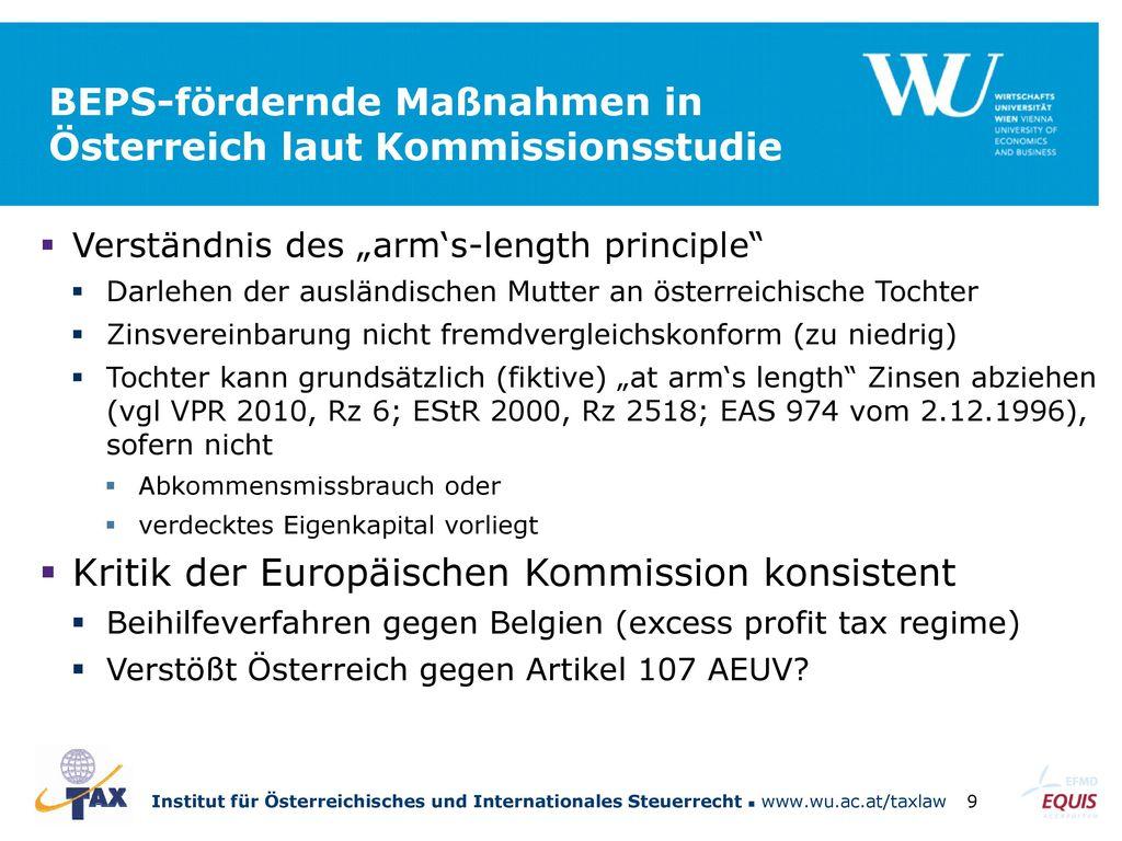 BEPS-fördernde Maßnahmen in Österreich laut Kommissionsstudie
