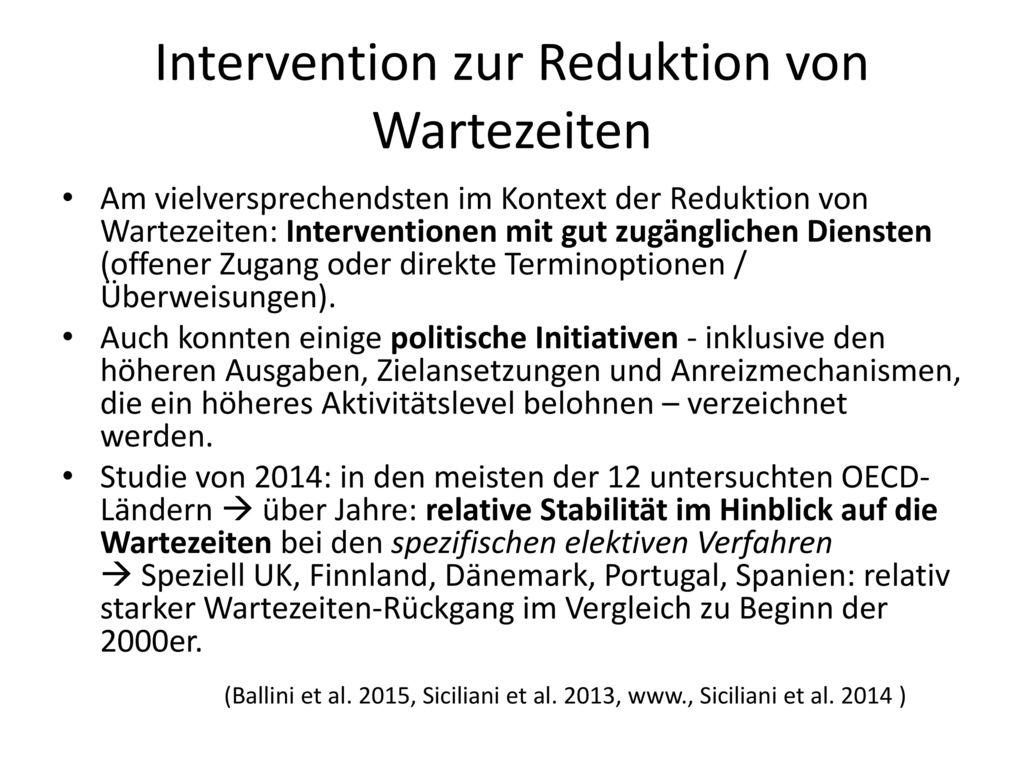 Intervention zur Reduktion von Wartezeiten