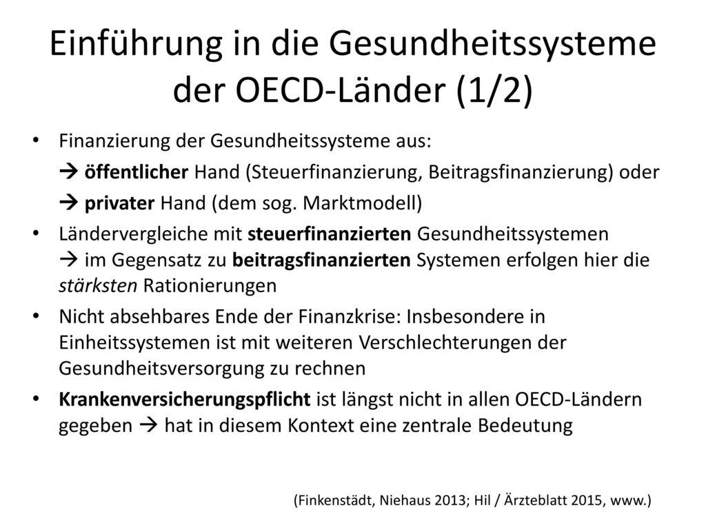 Einführung in die Gesundheitssysteme der OECD-Länder (1/2)