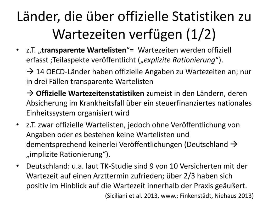Länder, die über offizielle Statistiken zu Wartezeiten verfügen (1/2)