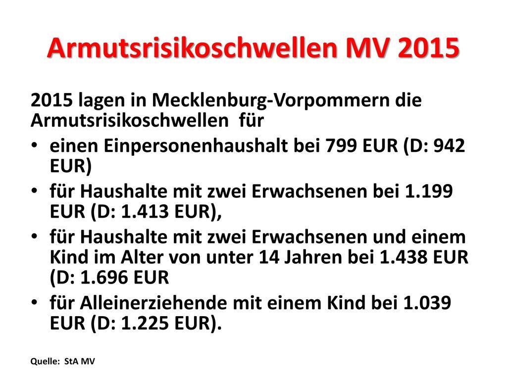 Armutsrisikoschwellen MV 2015