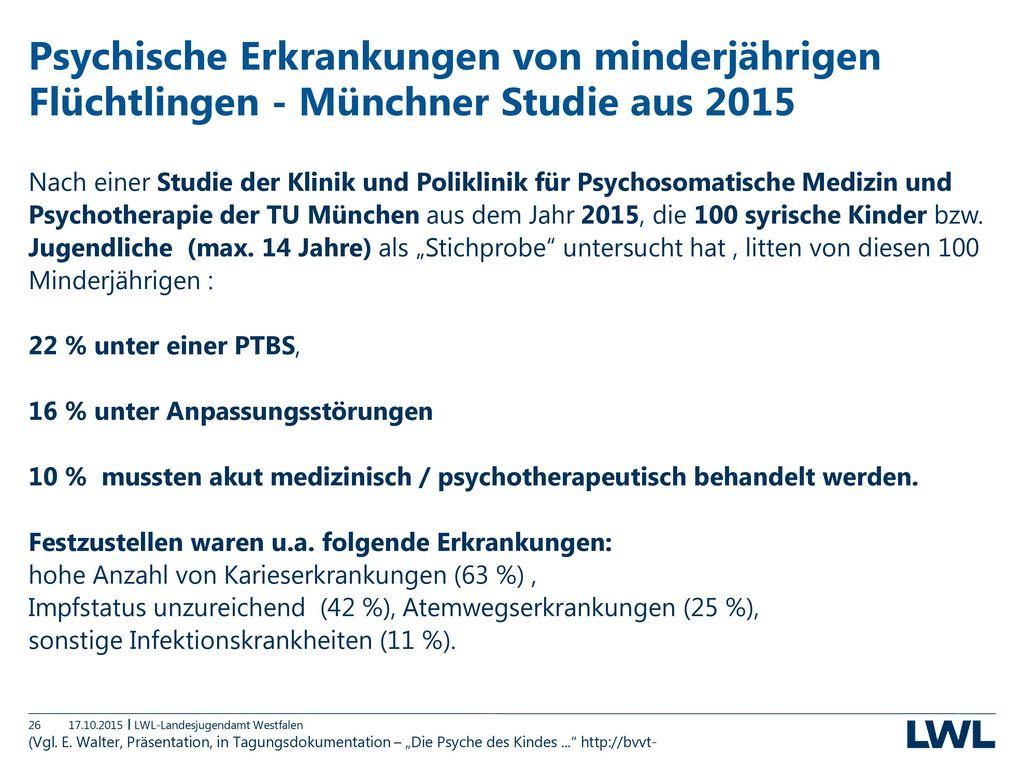 Psychische Erkrankungen von minderjährigen Flüchtlingen - Münchner Studie aus 2015
