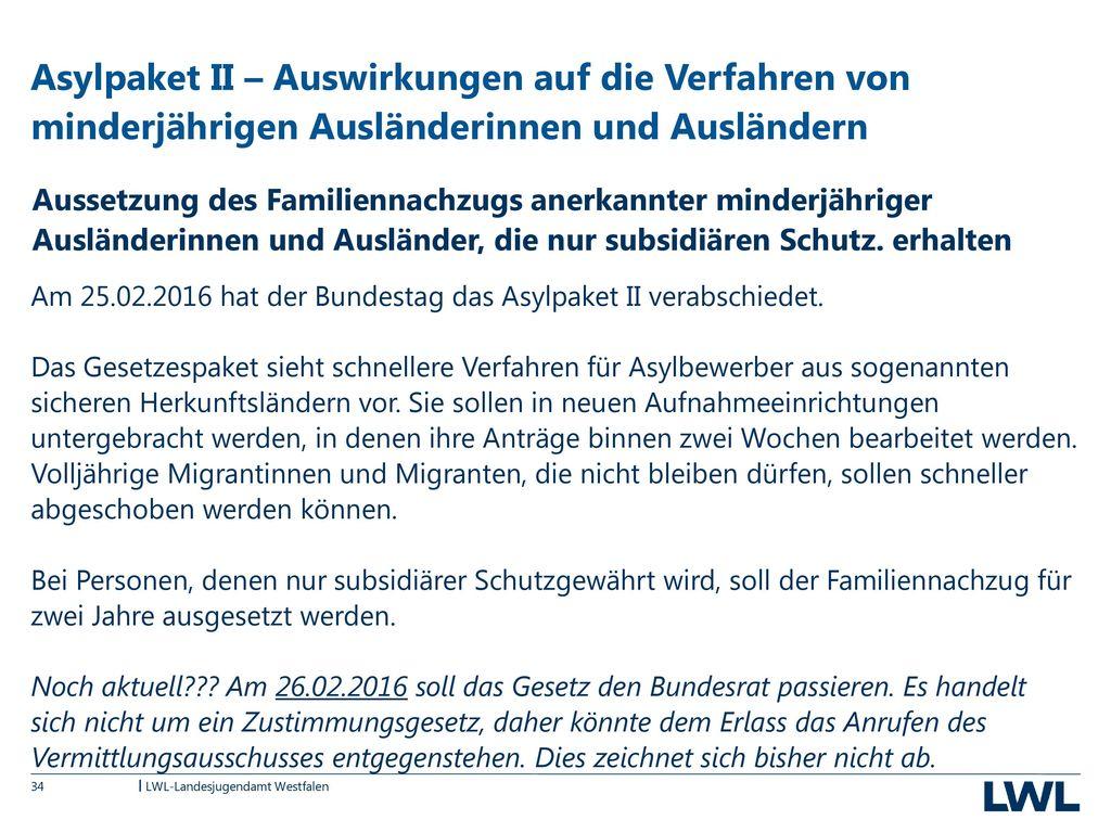 Asylpaket II – Auswirkungen auf die Verfahren von minderjährigen Ausländerinnen und Ausländern