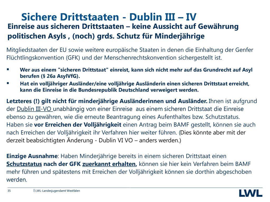 Sichere Drittstaaten - Dublin III – IV