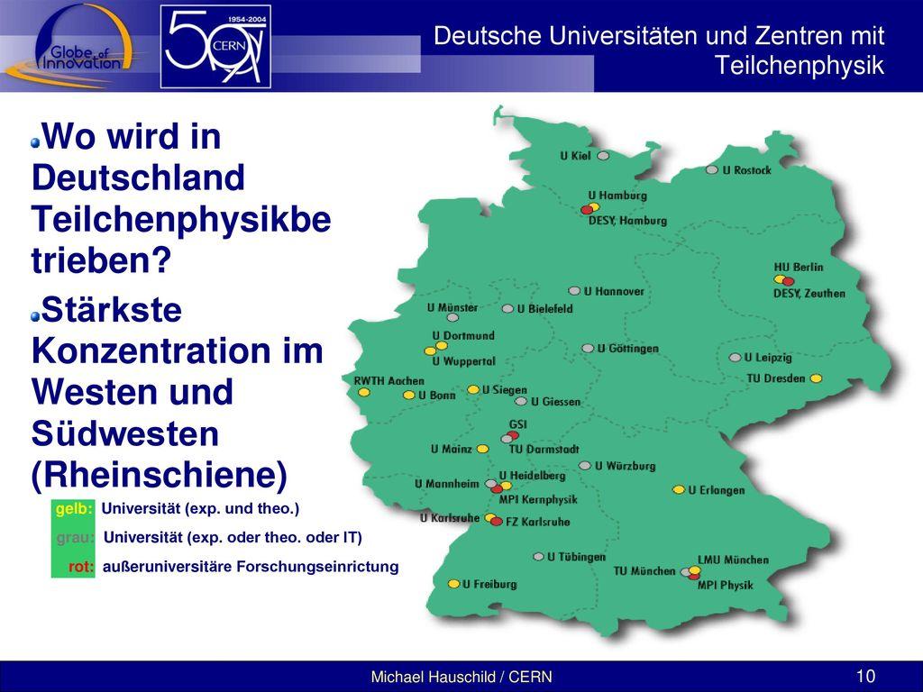 Deutsche Universitäten und Zentren mit Teilchenphysik
