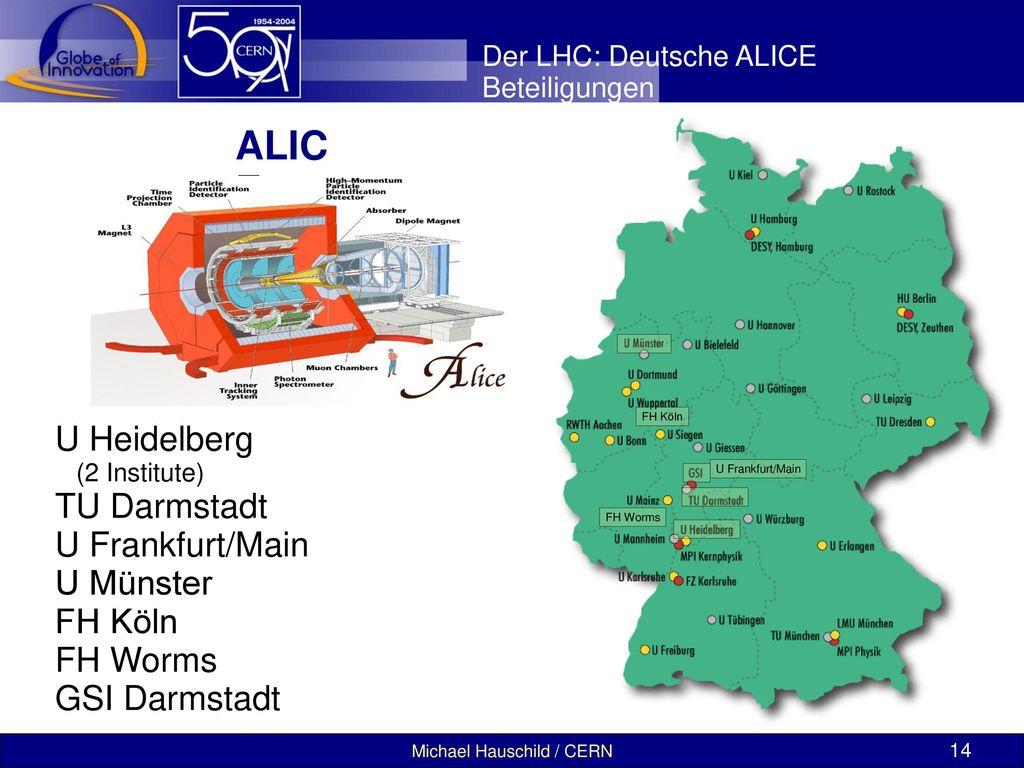 ALICE U Heidelberg TU Darmstadt U Frankfurt/Main U Münster FH Köln