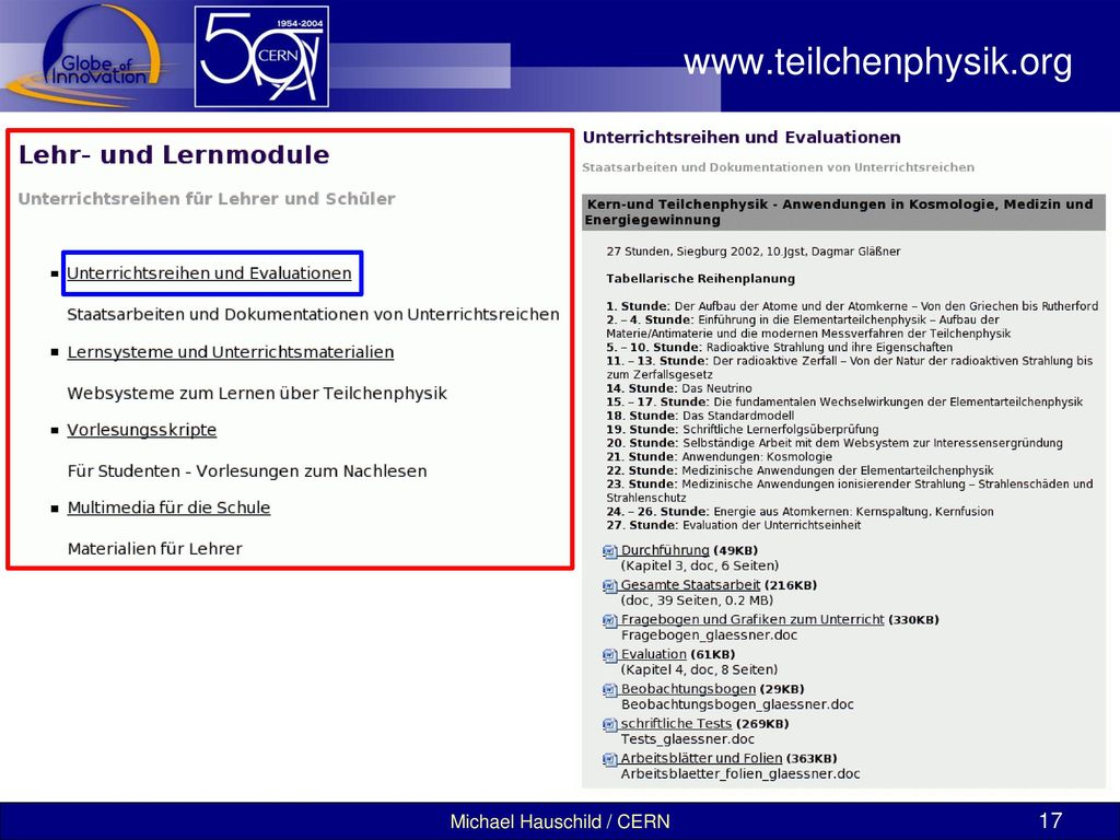 www.teilchenphysik.org