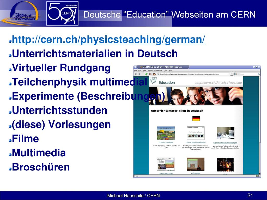 Deutsche Education Webseiten am CERN