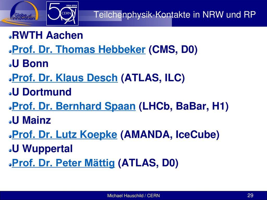Teilchenphysik-Kontakte in NRW und RP