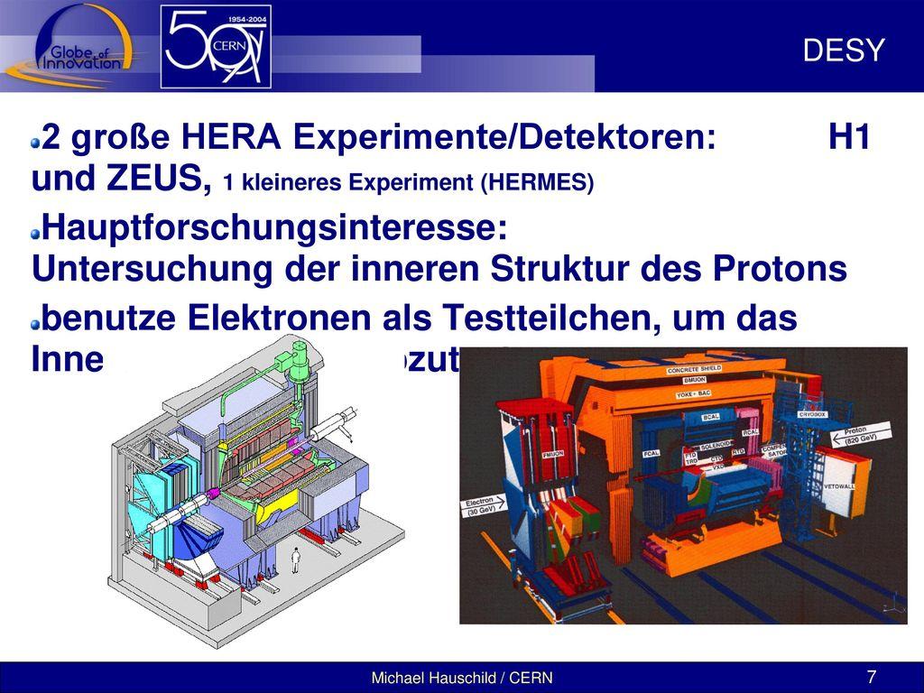 DESY 2 große HERA Experimente/Detektoren: H1 und ZEUS, 1 kleineres Experiment (HERMES)