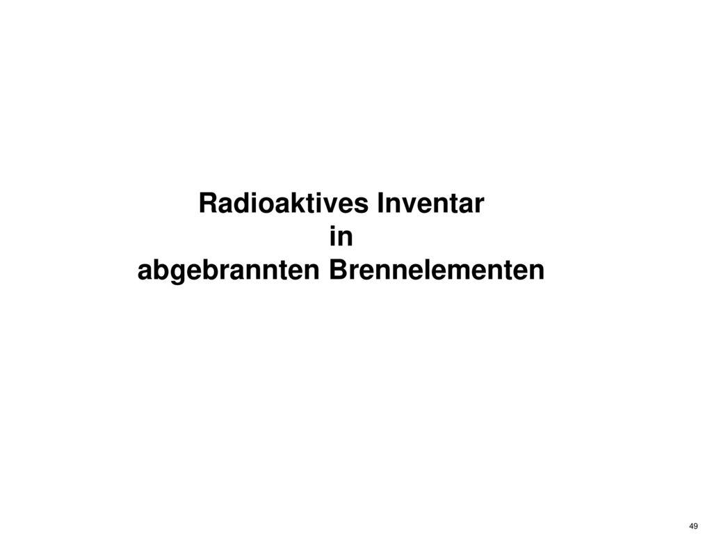 Radioaktives Inventar abgebrannten Brennelementen