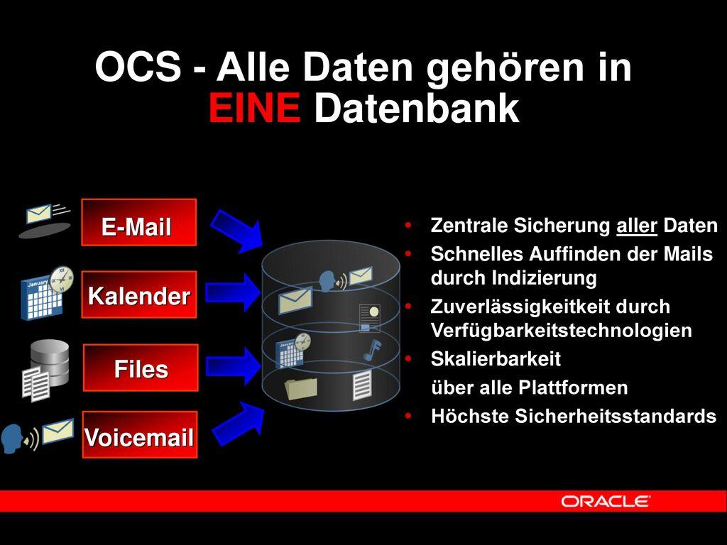 OCS - Alle Daten gehören in EINE Datenbank