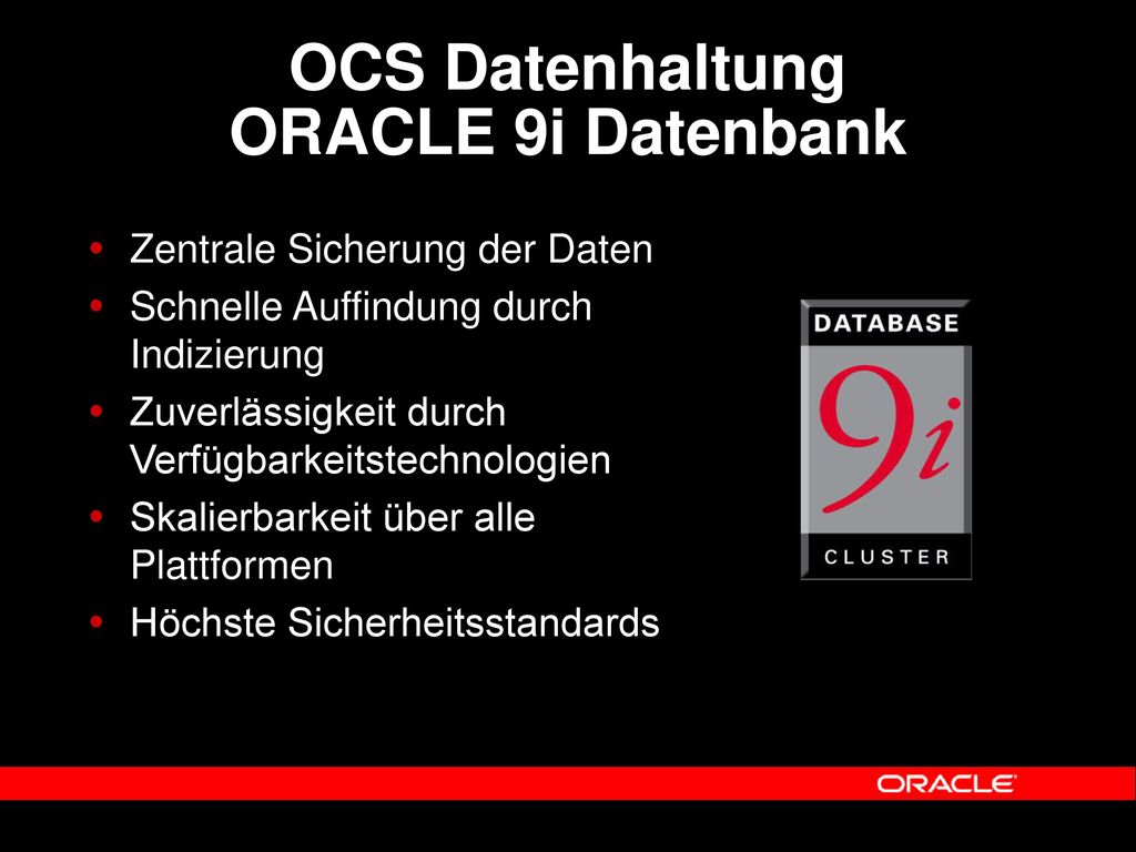 OCS Datenhaltung ORACLE 9i Datenbank