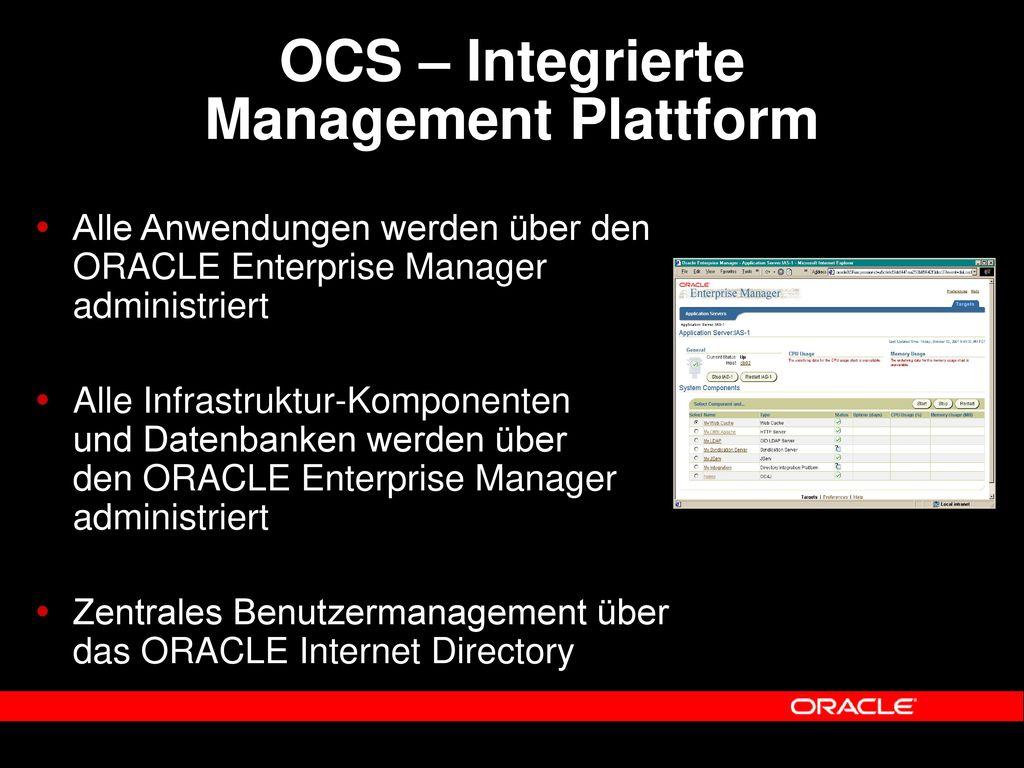 OCS – Integrierte Management Plattform