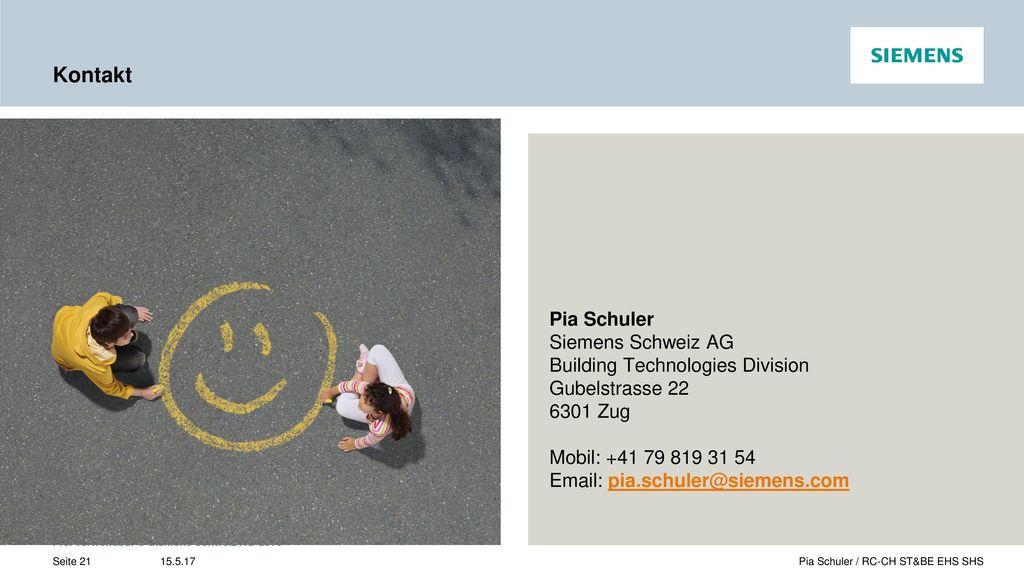 Kontakt Pia Schuler Siemens Schweiz AG Building Technologies Division