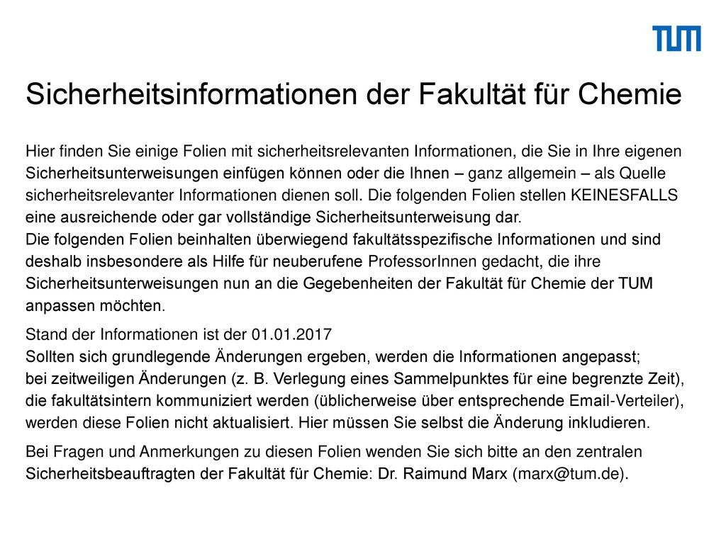 Sicherheitsinformationen der Fakultät für Chemie