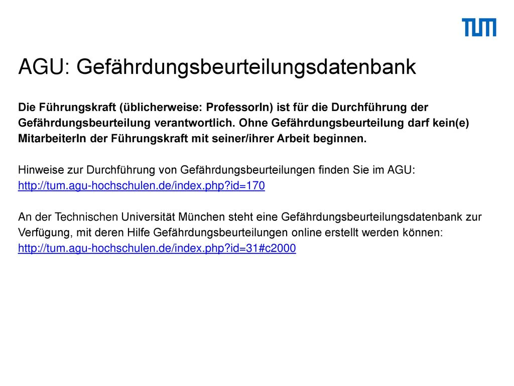AGU: Gefährdungsbeurteilungsdatenbank