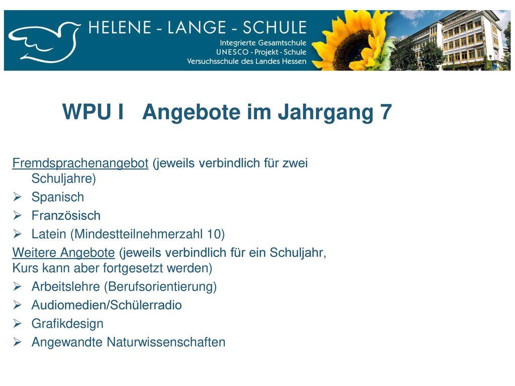 WPU I Angebote im Jahrgang 7